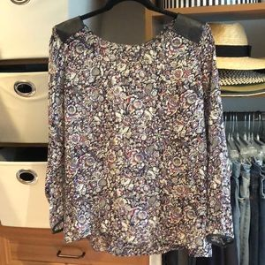 Club Monaco Floral Blouse with Leather Trim